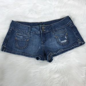 Anchor Blue Denim Jean Distressed Booty Shorts